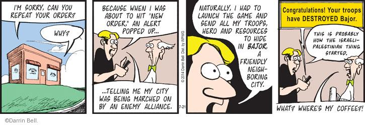 Comic Strip Darrin Bell  Rudy Park 2014-07-21 conflict