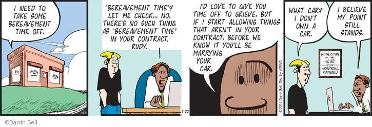 Comic Strip Darrin Bell  Rudy Park 2014-07-22 employee employer