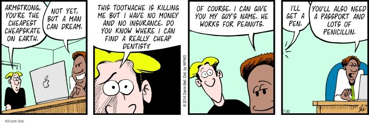 Comic Strip Darrin Bell  Rudy Park 2014-07-30 cheapskate