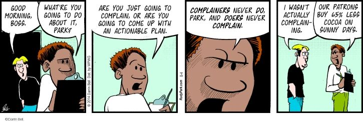 Comic Strip Darrin Bell  Rudy Park 2014-08-04 manager