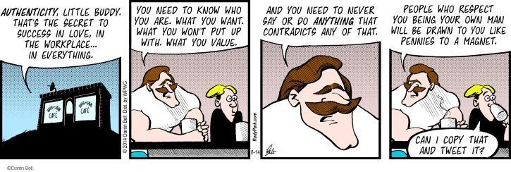 Comic Strip Darrin Bell  Rudy Park 2014-08-14 aware