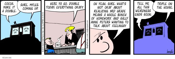 Comic Strip Darrin Bell  Rudy Park 2014-08-18 decline