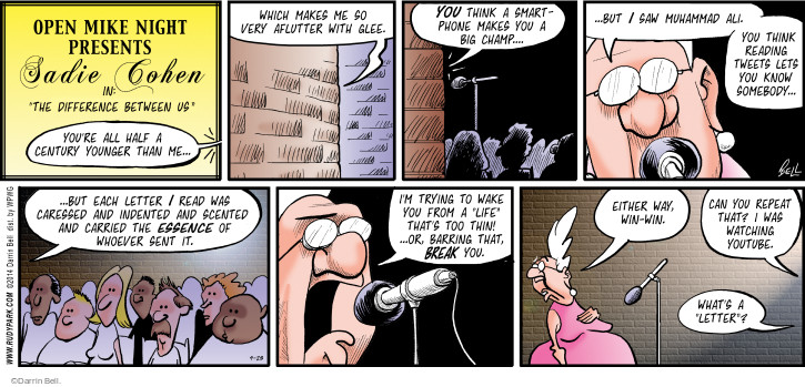 Comic Strip Darrin Bell  Rudy Park 2014-09-28 younger