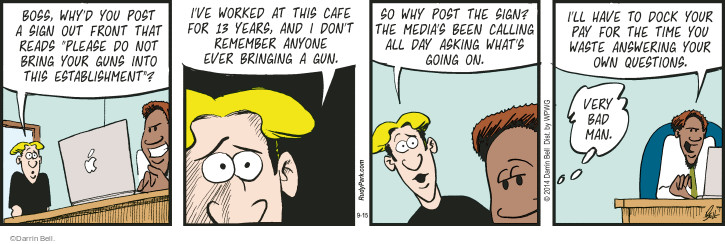 Comic Strip Darrin Bell  Rudy Park 2014-09-15 manager
