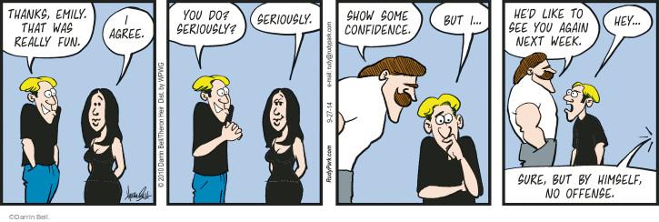 Comic Strip Darrin Bell  Rudy Park 2014-09-27 offense