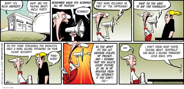 Cartoonist Darrin Bell  Rudy Park 2014-10-12 violation