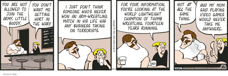 Comic Strip Darrin Bell  Rudy Park 2014-10-03 same thing