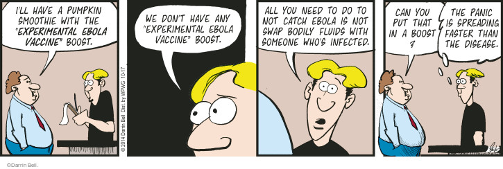 Cartoonist Darrin Bell  Rudy Park 2014-10-17 panic