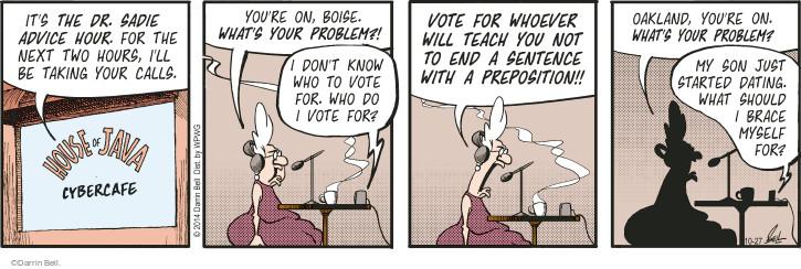 Cartoonist Darrin Bell  Rudy Park 2014-10-27 advice