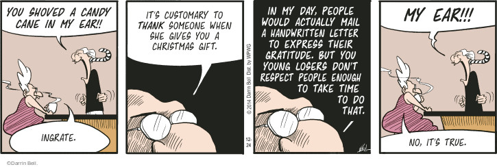 Comic Strip Darrin Bell  Rudy Park 2014-12-24 gift