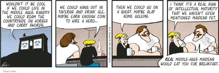 Comic Strip Darrin Bell  Rudy Park 2015-02-19 earn