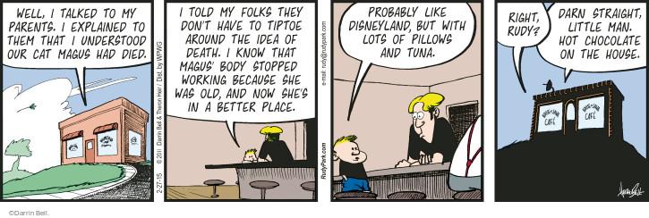Comic Strip Darrin Bell  Rudy Park 2015-02-27 explanation