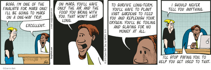 Comic Strip Darrin Bell  Rudy Park 2015-03-13 pay