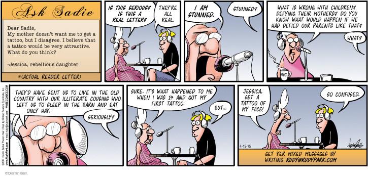 Cartoonist Darrin Bell  Rudy Park 2015-04-19 wrong