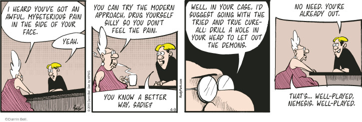 Comic Strip Darrin Bell  Rudy Park 2015-04-09 cure