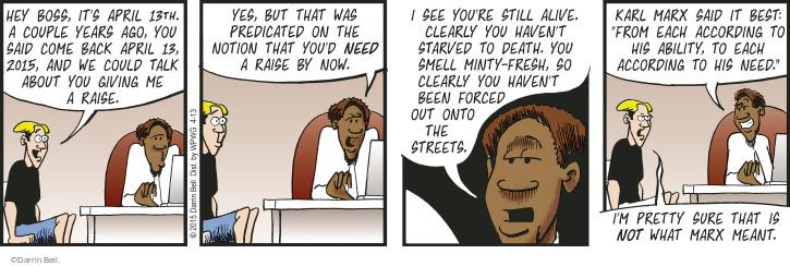 Cartoonist Darrin Bell  Rudy Park 2015-04-13 back