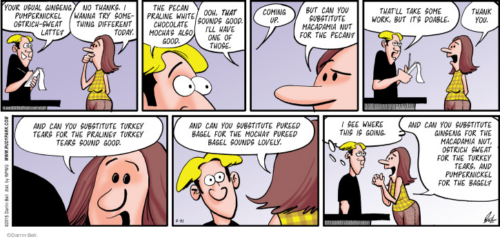 Comic Strip Darrin Bell  Rudy Park 2015-05-31 tear