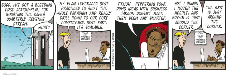 Comic Strip Darrin Bell  Rudy Park 2015-07-02 make