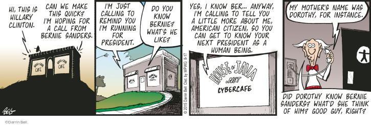 Comic Strip Darrin Bell  Rudy Park 2015-08-17 2016 Election Bernie Sanders