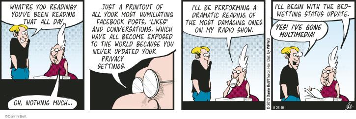 Comic Strip Darrin Bell  Rudy Park 2015-08-26 Facebook privacy