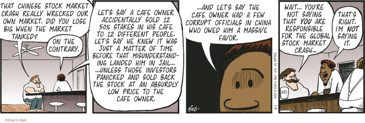 Comic Strip Darrin Bell  Rudy Park 2015-09-01 stock market crash