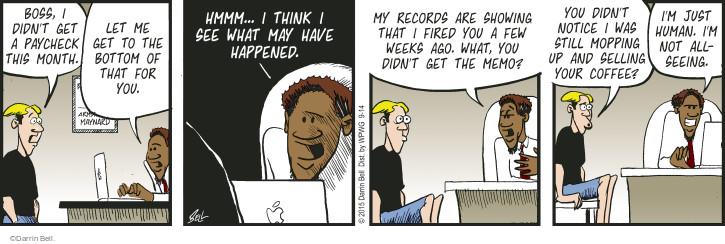 Cartoonist Darrin Bell  Rudy Park 2015-09-14 payment
