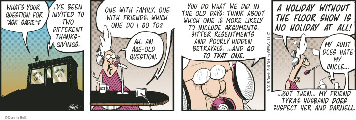 Comic Strip Darrin Bell  Rudy Park 2015-11-17 Thanksgiving family