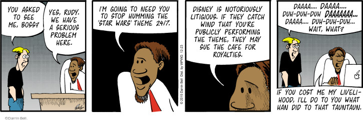 Comic Strip Darrin Bell  Rudy Park 2015-12-23 Disney movie