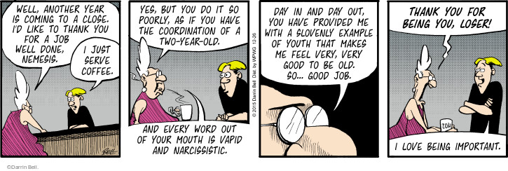 Comic Strip Darrin Bell  Rudy Park 2015-12-26 narcissist
