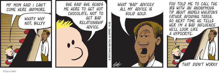 Cartoonist Darrin Bell  Rudy Park 2015-12-28 relationship advice