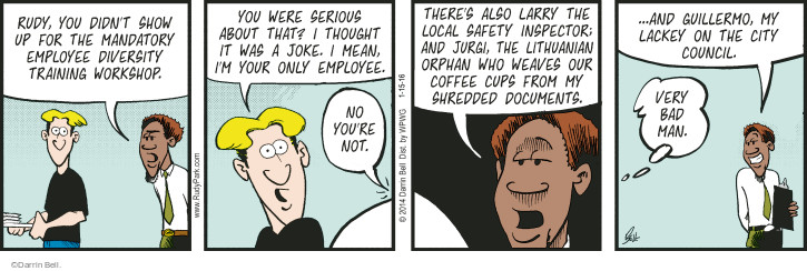 Comic Strip Darrin Bell  Rudy Park 2016-01-15 coffee cup