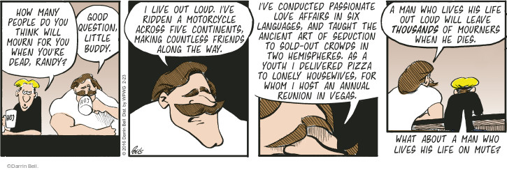 Comic Strip Darrin Bell  Rudy Park 2016-02-23 sell out