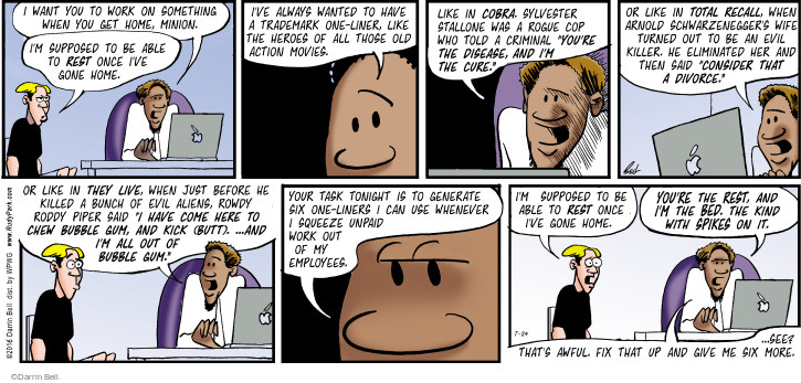 Comic Strip Darrin Bell  Rudy Park 2016-07-24 criminal