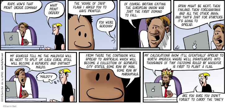 Comic Strip Darrin Bell  Rudy Park 2016-07-31 foreign