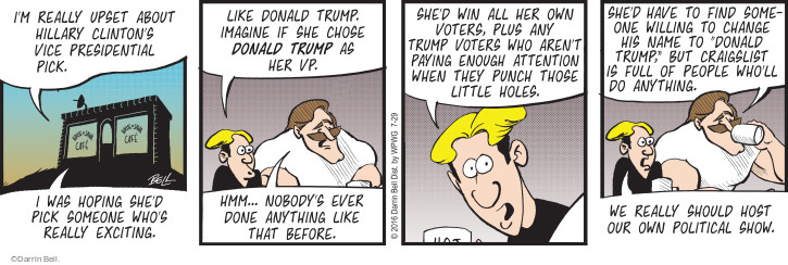 Comic Strip Darrin Bell  Rudy Park 2016-07-29 upset