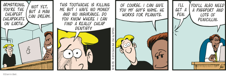 Comic Strip Darrin Bell  Rudy Park 2016-08-10 cheapskate