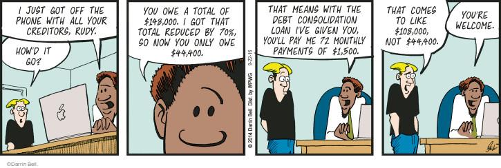 Comic Strip Darrin Bell  Rudy Park 2016-09-22 debt