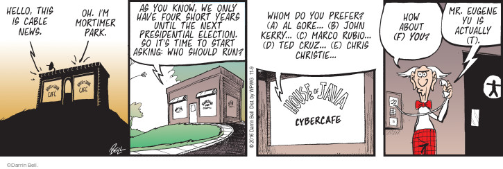 Comic Strip Darrin Bell  Rudy Park 2016-11-09 2020 election candidate