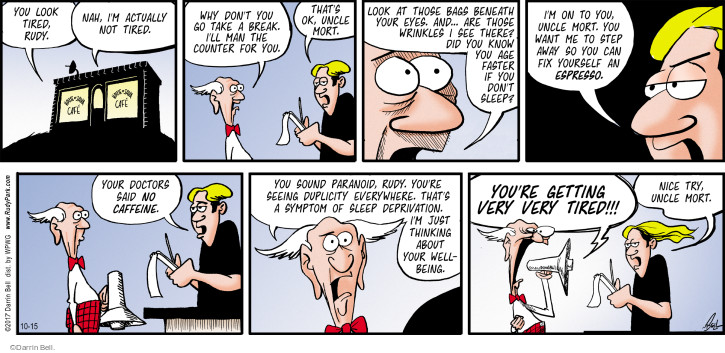 Cartoonist Darrin Bell  Rudy Park 2017-10-15 beneath