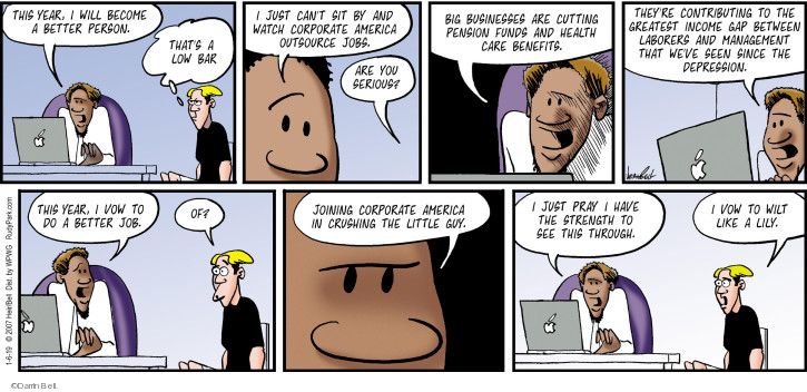 Comic Strip Darrin Bell  Rudy Park 2019-01-06 corporate