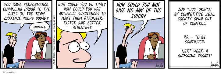 Comic Strip Darrin Bell  Rudy Park 2019-01-12 performance-enhancing drug
