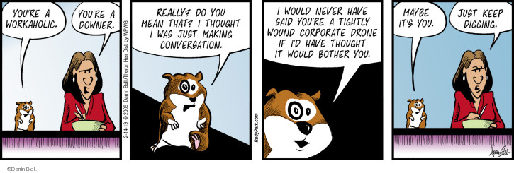Comic Strip Darrin Bell  Rudy Park 2019-02-14 corporate