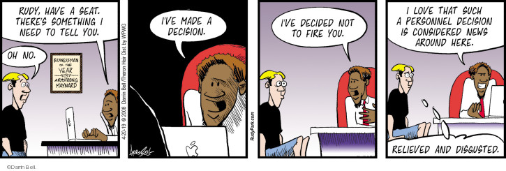 Comic Strip Darrin Bell  Rudy Park 2019-04-20 employee