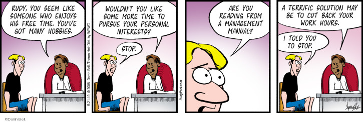 Comic Strip Darrin Bell  Rudy Park 2019-05-21 manager