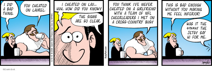 Comic Strip Darrin Bell  Rudy Park 2019-06-19 cheated on