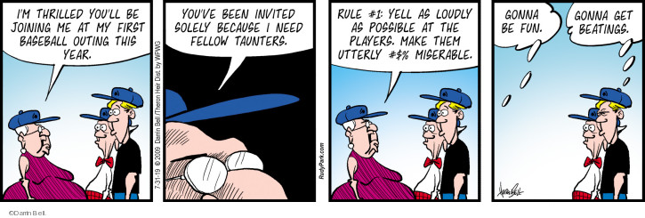 Comic Strip Darrin Bell  Rudy Park 2019-07-31 baseball