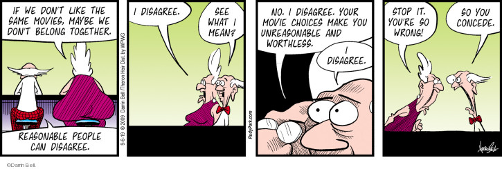 Comic Strip Darrin Bell  Rudy Park 2019-09-06 disagree