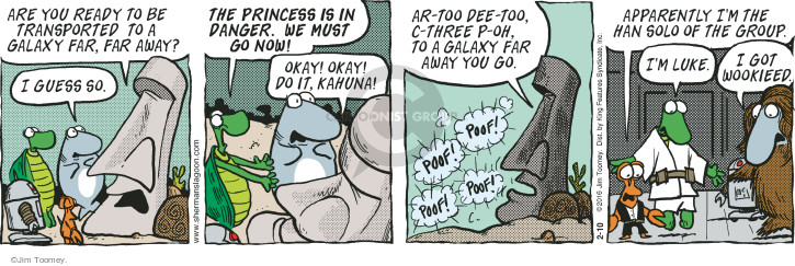 Are you ready to be transported to a galaxy far, far away? I guess so. The princess is in danger. We must go now! Okay! Okay! Do it, Kahuna! Ar-too Dee-too, C-three P-oh, to a galaxy far away you go. Poof! Poof! Poof! Poof! Apparently Im the Han Solo of the group. Im Luke. I got wookieed.