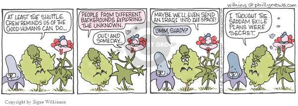 Cartoonist Signe Wilkinson  Shrubbery 2003-02-06 inspiration