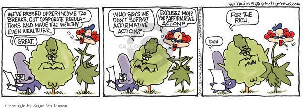 Cartoonist Signe Wilkinson  Shrubbery 2003-07-17 tax